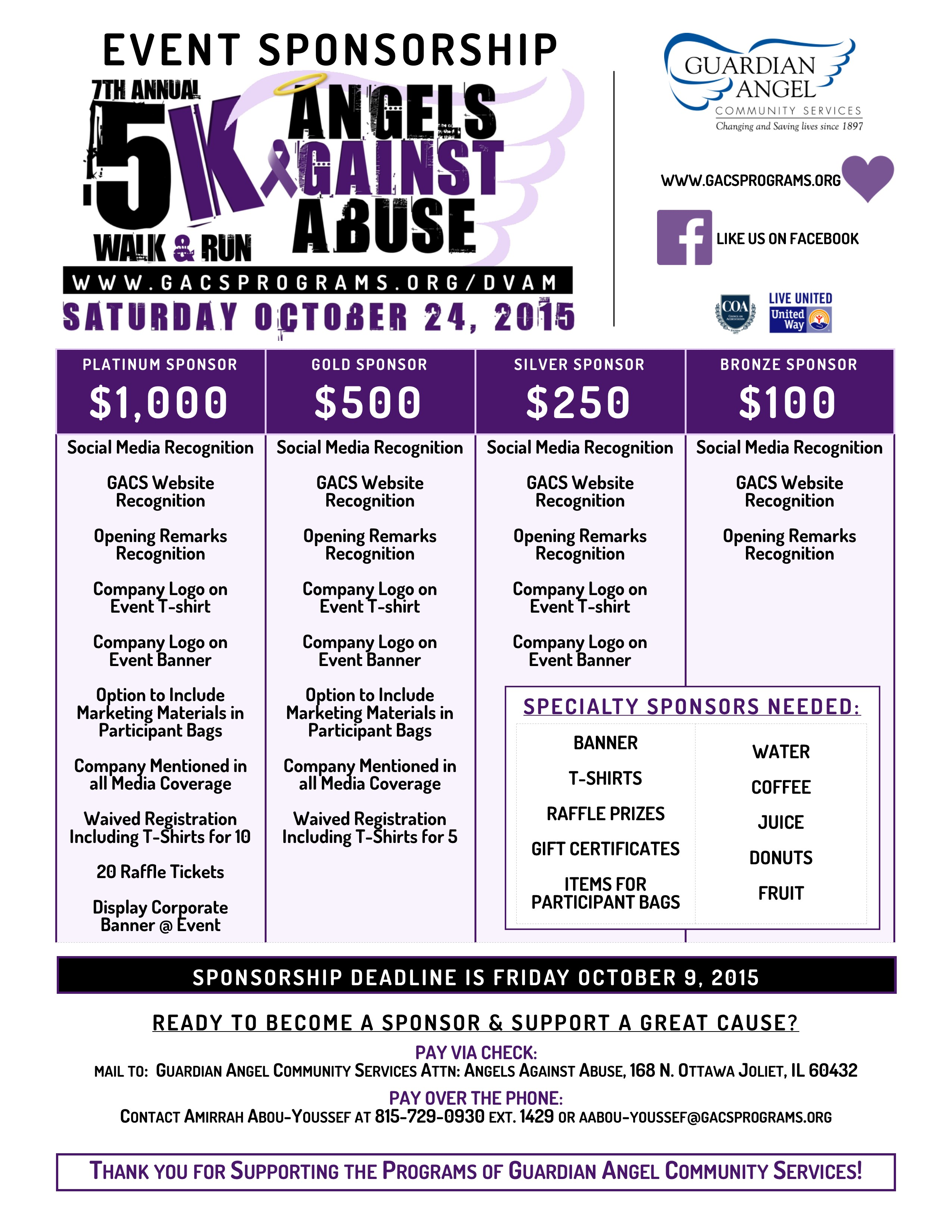 FirstGiving Angels Against Abuse 5K Walk Run Benefiting – Generic Sponsorship Form